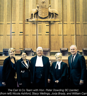 The Carr & Co Team with Hon. Peter Dowding SC (center)  (from left) Nicola Ashford, Stacy Wellings, Jorja Brady, and William Carr